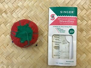 Vintage Singer Sewing Needles and Very Old Pin Cushion $8.00