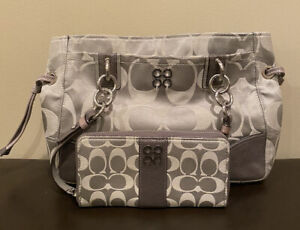 Coach Purse and Wallet Set Great Condition Gray
