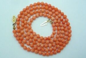 VINTAGE SALMON CORAL BEAD NECKLACE 14K SOLID GOLD CLASP 19.2 GRAMS 28quot;
