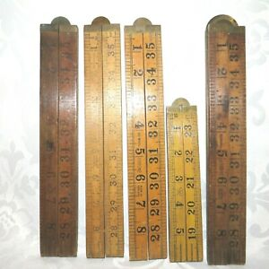 5 x VINTAGE folding rulers BRASS rules FWW and RABONE boxwood GBP 65.00
