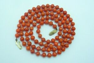 VINTAGE SALMON COLOR CORAL BEAD NECKLACE 36.7 GRAMS 32quot;