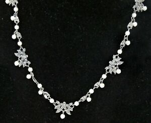 Vintage Silver Tone Marcasite Faux Pearl Chain Necklace Beautiful Stunning