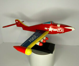 Classic Vintage Wooden Airplane Jet Handpainted on Stand Pedestal Aviation $44.95