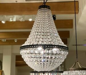 Pottery Barn Mia Faceted Crystal Pendant Light Fixture Chandelier Large $319.03