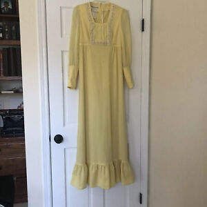 Vintage Size 7 70's Mickey Jrs Yellow Maxie Dress