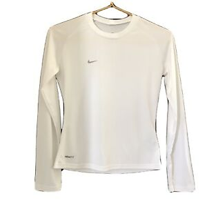Nike Fit Dry Athletic Long Sleeve Base Layer Shirt Size XS White Jersey Feel $18.90