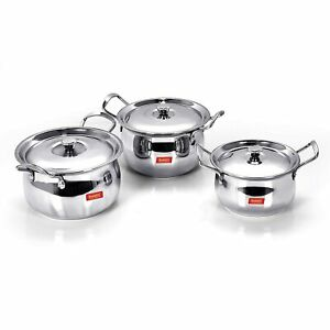 Stainless Steel Handi With Lid 1.1 Ltr 1.6 Ltr 2.1 L 3 Piece $68.84