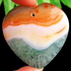 Orange Green Onyx Druzy Geode Agate Heart Pendant Bead 37x37x7mm F18764 $4.97