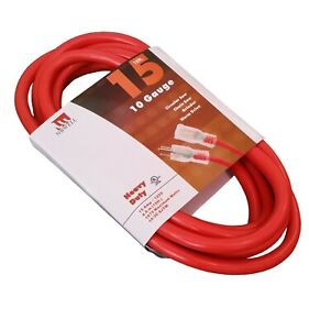 15 Ft Extension Cord 10 Gauge Lit End AWG Heavy Duty UL NEW 10 3