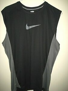 NIKE FIT DRY Black amp; Gray Sleeveless Moisture Wicking Athletic Tank Top Size XL $14.95