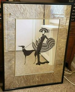 Erte Symphony in Black Mirror Woman and Dog Grand Wall Mirror Framed 41 x 31 $350.00