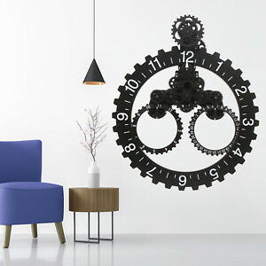 Unique Decorative Large Oversized Gears Metal Wall Clocks Triangle Mechanical $189.00