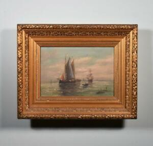 *Antique Signed Oil on Canvas Painting Seascape with Ships With Gilt Frame $795.00