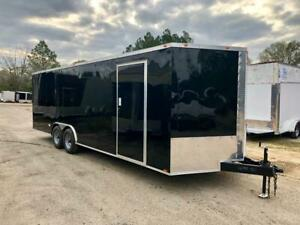 NEW 8.5X24 V NOSE ENCLOSED CAR HAULER TRAILER 5200 LB AXLES RADIALS 8.5 x 24