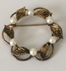 Vintage Signed Van Dell 1 20 12k GF Brooch WREATH Collectible Jewelry Gold Tone $25.00