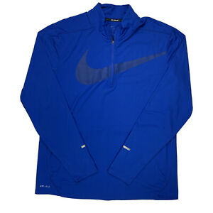 Mens Nike Running Dri Fit 1 4 Zip Pullover Longsleeve Running Shirt Blue XL $18.99