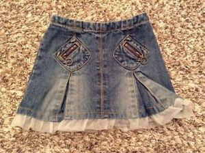 CHEROKEE BRAND Girls 2T Elastic Waist Blue Jean Denim Skirt with Under Shorts $9.99