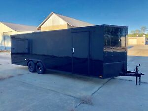 NEW 8.5X24 V NOSE ENCLOSED CAR HAULER TRAILER 5200 LB AXLESLED LIGHTS 8.5 x 24