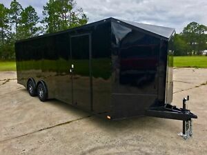 NEW 8.5X24 V NOSE ENCLOSED CAR HAULER TRAILER TORSION AXLES 8.5 x 24 RACE READY