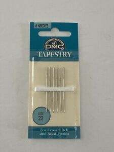 DMC Tapestry Hand Needles Size 22 6 Needles Round End Nickel Plated Steel $5.99