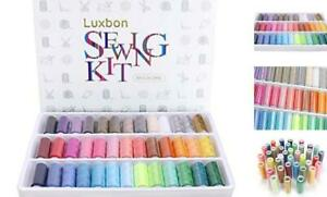 Sewing Threads Kits 39 Colors Rainbow Polyester Sewing Thread Box Kit Set $17.44