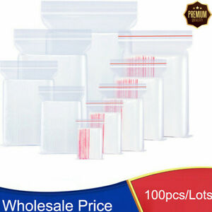100Bags Small Baggie Clear Reclosable Zip Jewelry Zipper TShirt Plastic Poly Bag $3.98