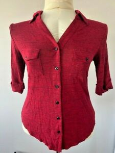 Womens Marled Collar Button Up Shirt NWOT Size M $12.99
