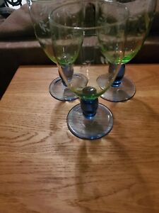 Set of 3 Green Crystal With Leaf Accents Blue Stems Water Wine Goblets