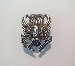 Antique Military AIRFORCE SILVER EAGLE MEDAL Civil War WW I Or II Marines $16.50