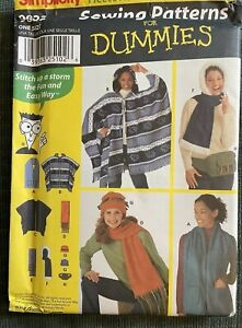 Simplicity 9822 Fleece Accessories Poncho Sewing for Dummies One Size UNCUT $5.99