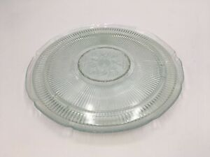 Vintage Clear Crystal With Flower Design 10 Inch Round Plate Set Of 2