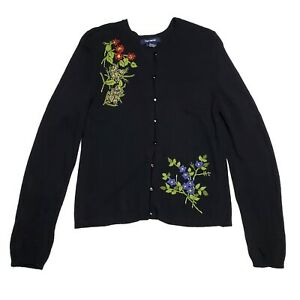 Vintage The Limited Wool Blend Cardigan Sweater Floral Embroidered 1990s Medium $23.96