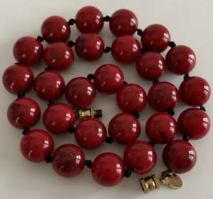 VINTAGE LES BERNARD SIGNED HANGTAG RED12MM BEADS 19quot; NECKLACE HAND KNOTTED SILK $30.00
