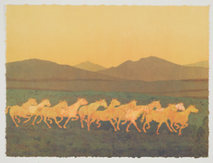 Original signed Kevin Red Star lithograph Dusty#x27;s Running Horses $3100.00