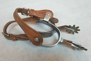 Vintage Crockett Renalde Stainless Silver Spurs with leathers Used DP