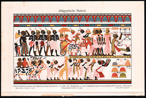 Ancient Egyptian Painting 1909 Chromolithograph Meyers Antique Print $19.99