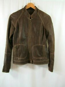 Reebok NFL Logo Suede Brown Leather Mens Jacket Size Small Fitted $124.99