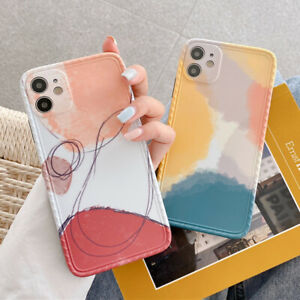 Colorful Lines Painting Soft Phone Case Cover For iPhone 12 Mini 11 Pro XS Max 8