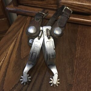 VINTAGE KELLY MARKED SINGLE MOUNTED FREEDOM RIDERS COWBOY WESTERN SPURS
