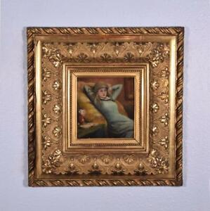 French Antique Oil on Panel Painting of a Girl Artist Signed $525.00