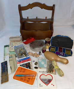 Vintage Wooden Sewing Handle Basket Box full of Vintage Accessories amp; Notions $32.50