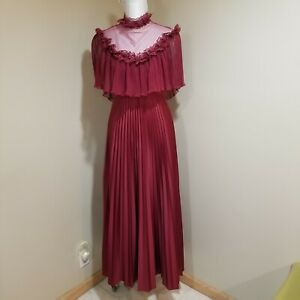 70s 80s Maroon Prairie Long Dress*Vintage Victorian Sheer Lace*szS See photo $75.00