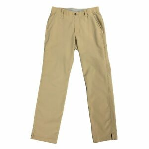 Under Armour Golf Pants Mens Size 32 x 32 Match Play Tan Elastic Waist 1248089 $24.94