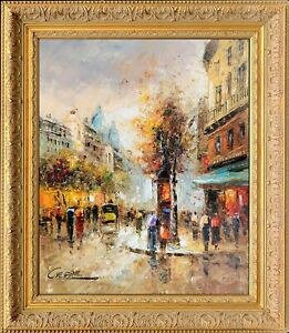Signed Original Oil Painting On Canvas French Gold Framed Paris Evening Scene $345.00