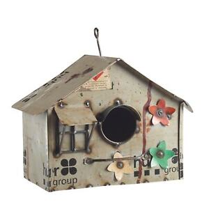 Decorative Metal Birdhouse Hand Made from Recycled Metal 10quot; x 8quot; x 6quot; $33.51