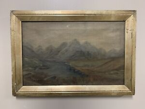 Antique Oil On Cavas Landscape Painting $374.95