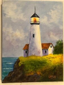 9 x 12 Original Oil Painting on Canvas....quot;Lighthouse on Rocky Coastquot; $30.00