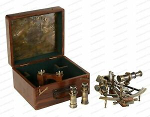 8 SEXTANT Antique With Wooden Box Nautical Brass Maritime Heavy Ship Astrolabe C $264.37