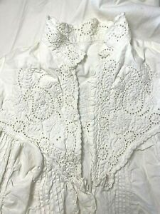 Vintage Victorian White Cotton Nightgown Hand Sewn Quilted Eyelet Embroidered $29.99