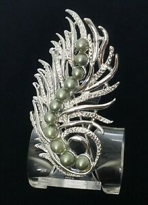 1959 VINTAGE SIGNED SARAH COVENTRY FEATHER FANTASY BROOCH PIN FAUX GRAY PEARLS $16.00